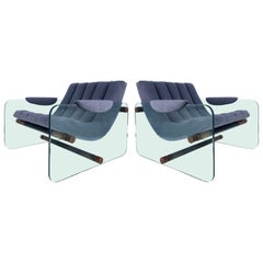 Adrian Pearsall Craft Associates Glass Sided Club Chairs