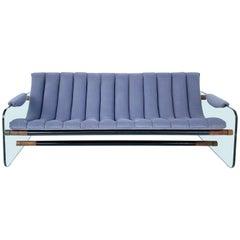 Adrian Pearsall Craft Associates Glass Sided Sofa in Velvet Upholstery