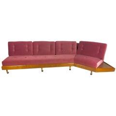 Adrian Pearsall Craft Associates Midcentury Mauve Curved Sofa, 1800s