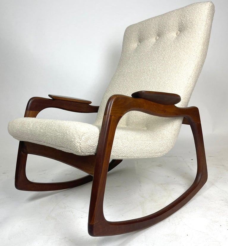 Freshly upholstered rocker designed by Adrian Pearsall for Craft Associates. Sculptural walnut frame with a brand new nubby fabric.