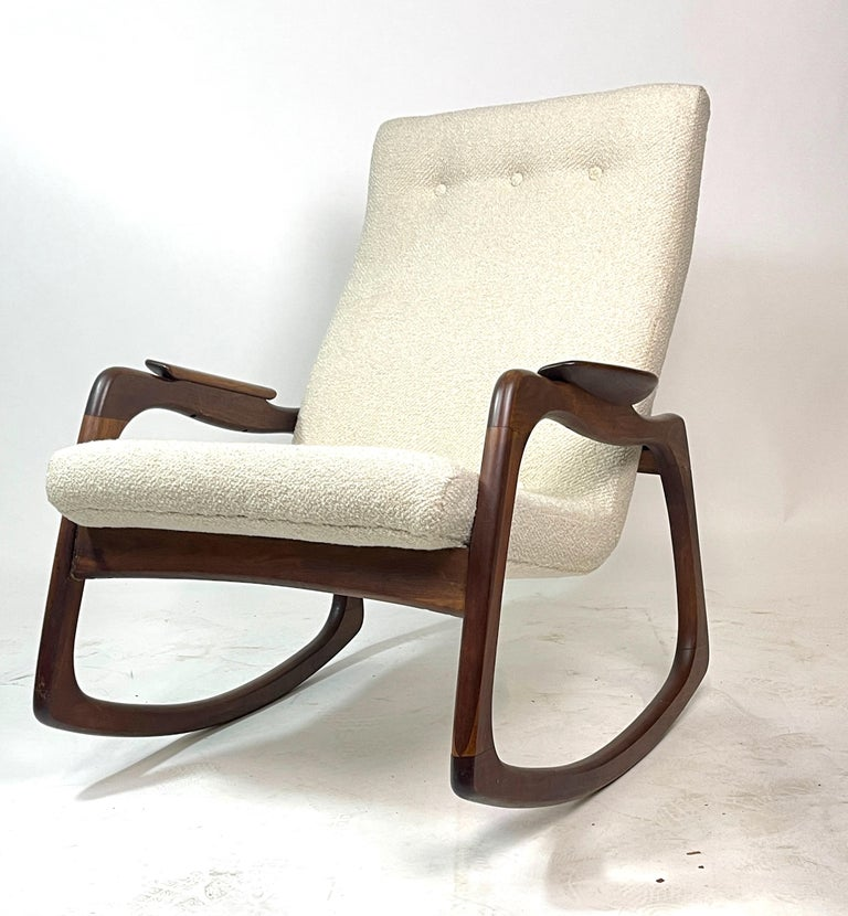American Adrian Pearsall Craft Associates Sculptural Rocking Chair Rocker New Upholstery