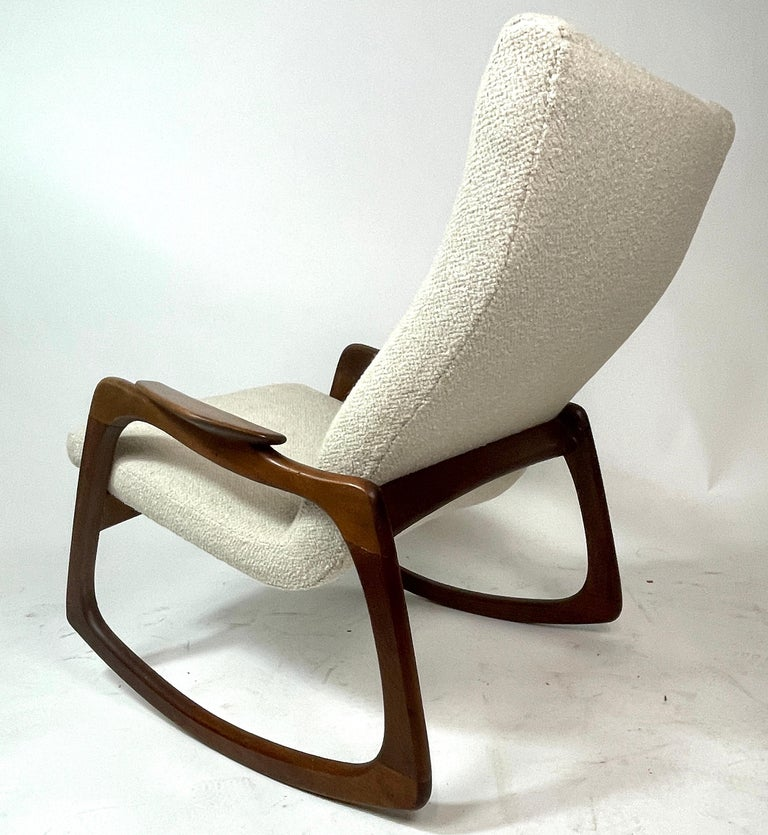 Adrian Pearsall Craft Associates Sculptural Rocking Chair Rocker New Upholstery In Good Condition In Hudson, NY