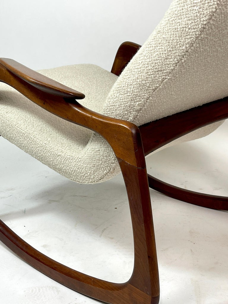20th Century Adrian Pearsall Craft Associates Sculptural Rocking Chair Rocker New Upholstery