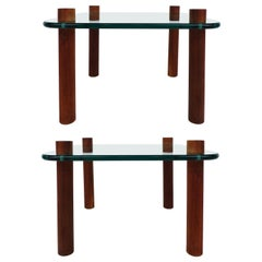 Adrian Pearsall Craft Associates Side Tables in Wood and Glass, Pair
