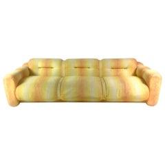 Adrian Pearsall Craft Associates Signed Yellow Rainbow Striped Midcentury Sofa