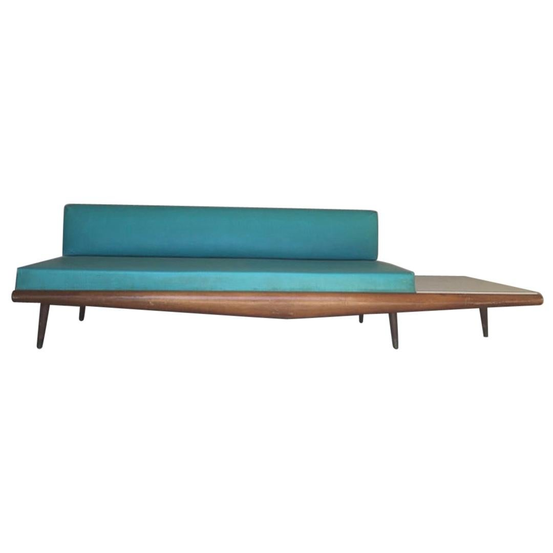 Adrian Pearsall Craft Associates Turquoise Sofa Daybed with Built-in End Table