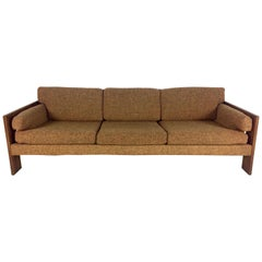 Adrian Pearsall Craft Associates Walnut Sofa with Brown Upholstery