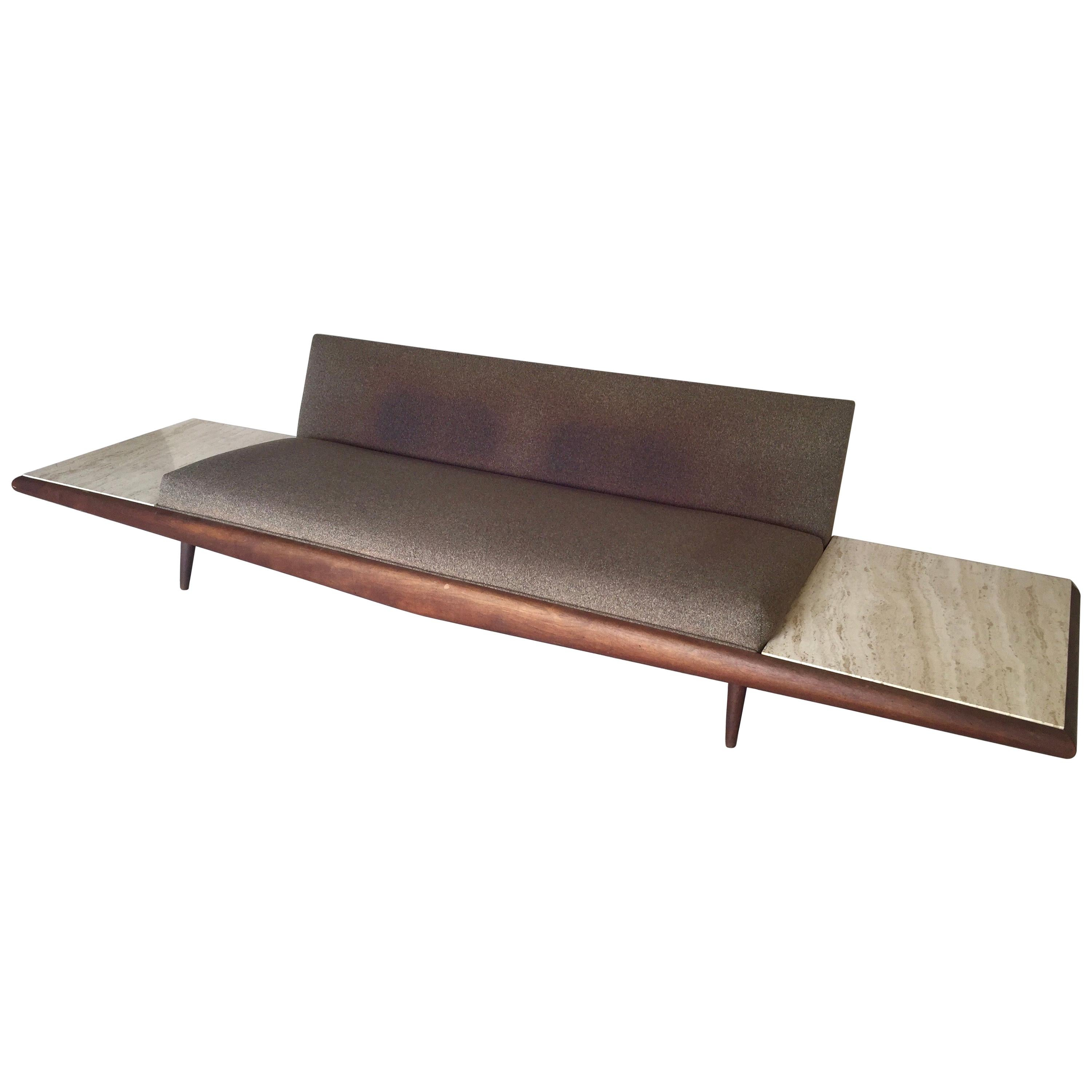 Adrian Pearsall Craft Associates X-Long Brown Sofa with Marble End Tables 889-S