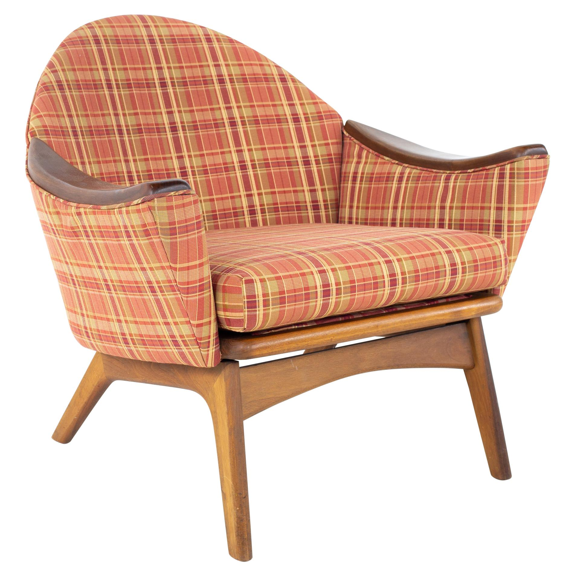 Adrian Pearsall for Craft Associates 1806-C Mid Century Lowback Walnut Lounge Ch