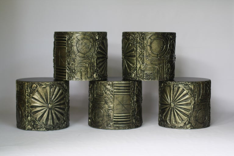 An excellent set of Adrian Pearsall for Craft Associates drum tables, up to 5 available to make a unique setting. This Brutalist series design from Adrian Pearsall mirrors Paul Evans sculpted bronze pieces. 