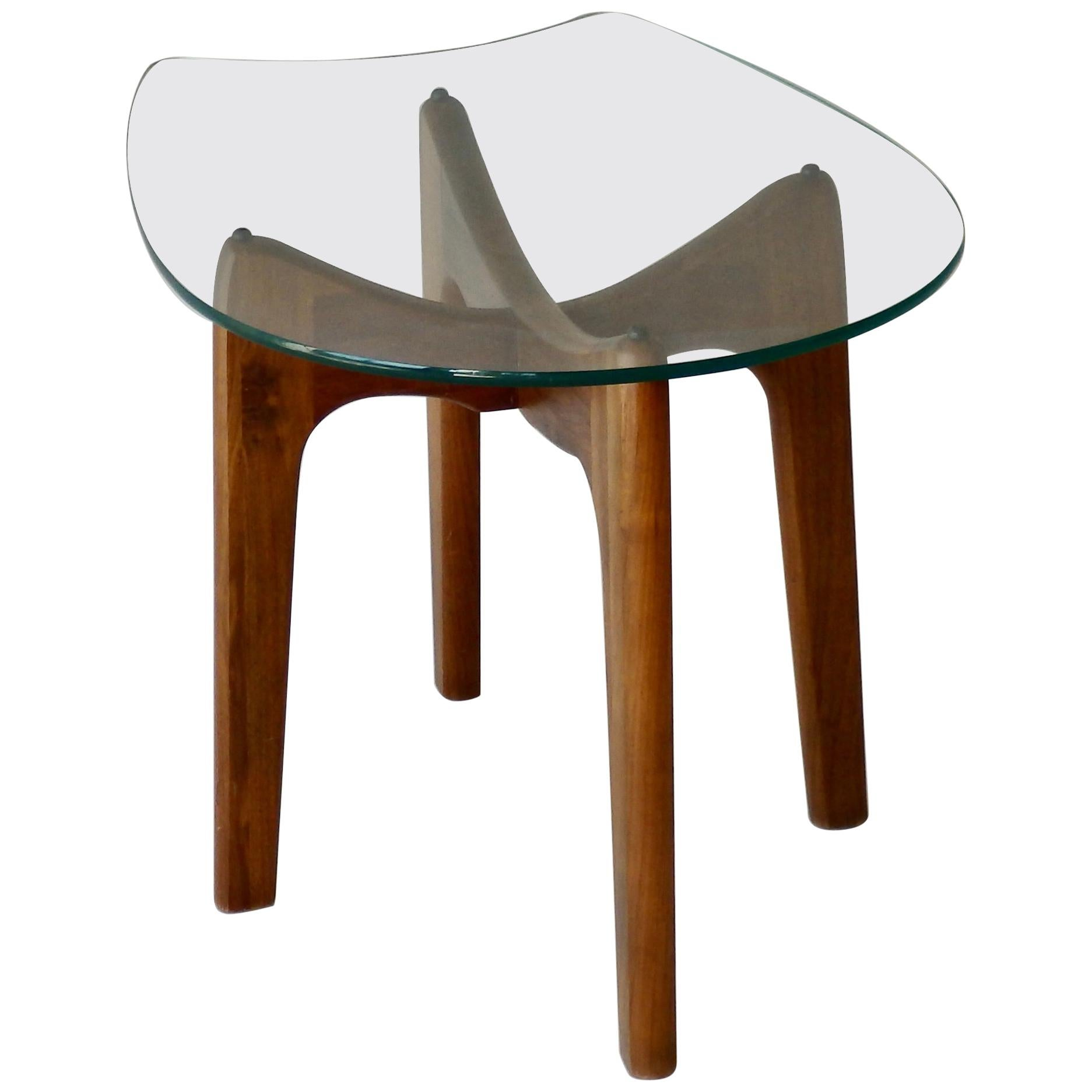 Adrian Pearsall for Craft Associates Horseshoe Glass Top Walnut Base Side Table