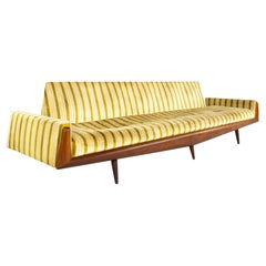 Adrian Pearsall for Craft Associates Mid Century Extra Long Walnut Gondola Sofa