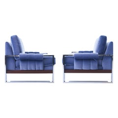 Adrian Pearsall for Craft Associates Mohair, Wood and Chrome Lounge Chair, Pair