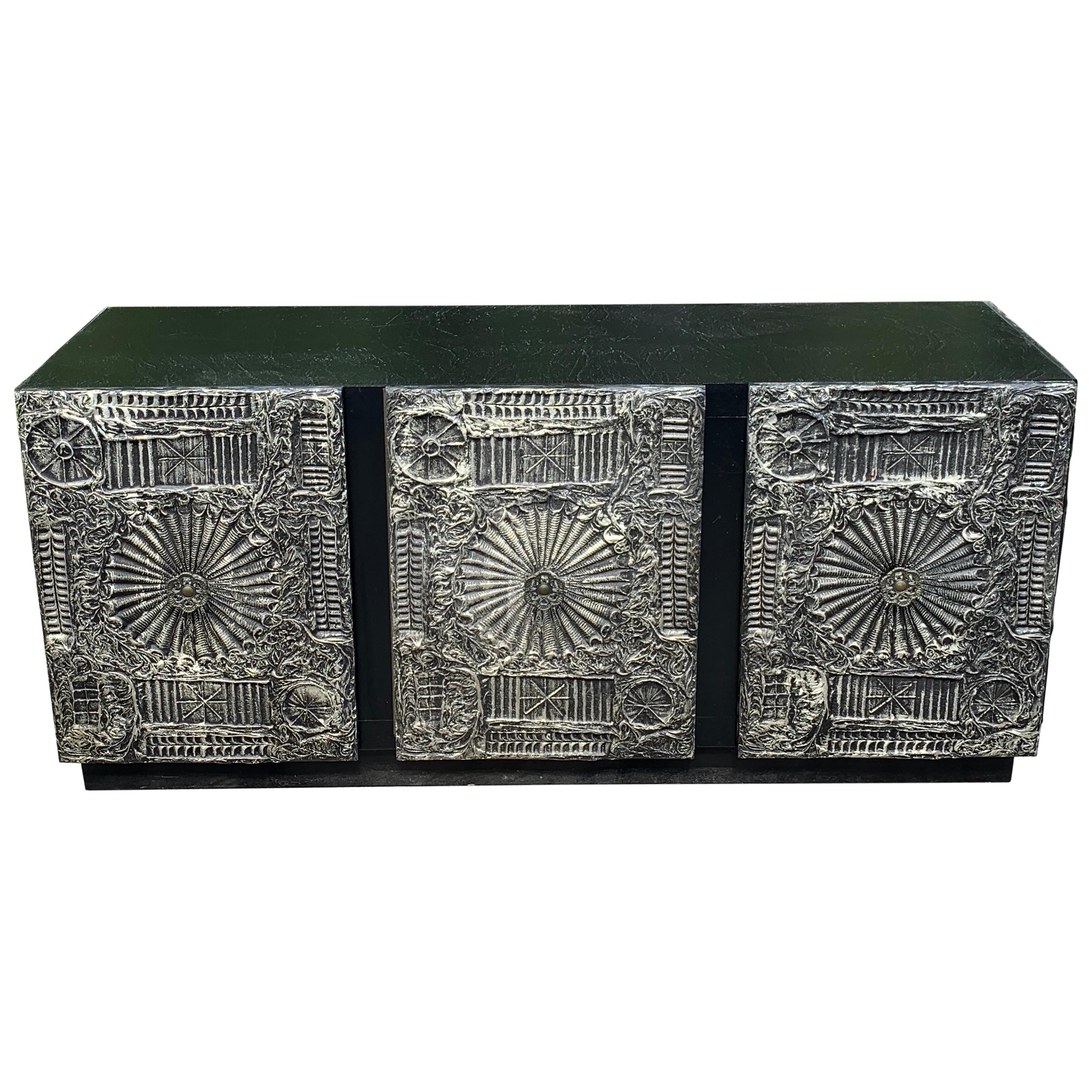 """Adrian Pearsall for Craft Associates  """"Sculpted Bronze"""" Brutalist Credenza"""