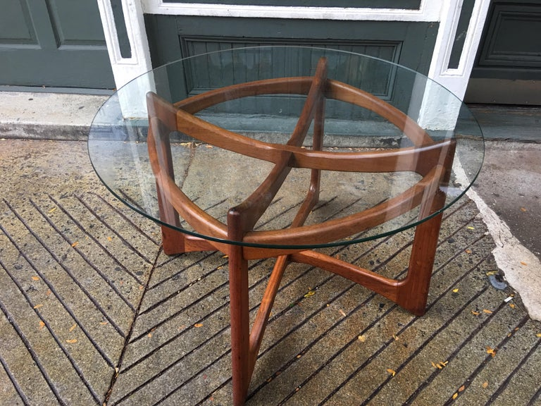 Round glass and walnut Adrian Pearsall for Craft Associates table. Sculptural skeleton base construction!