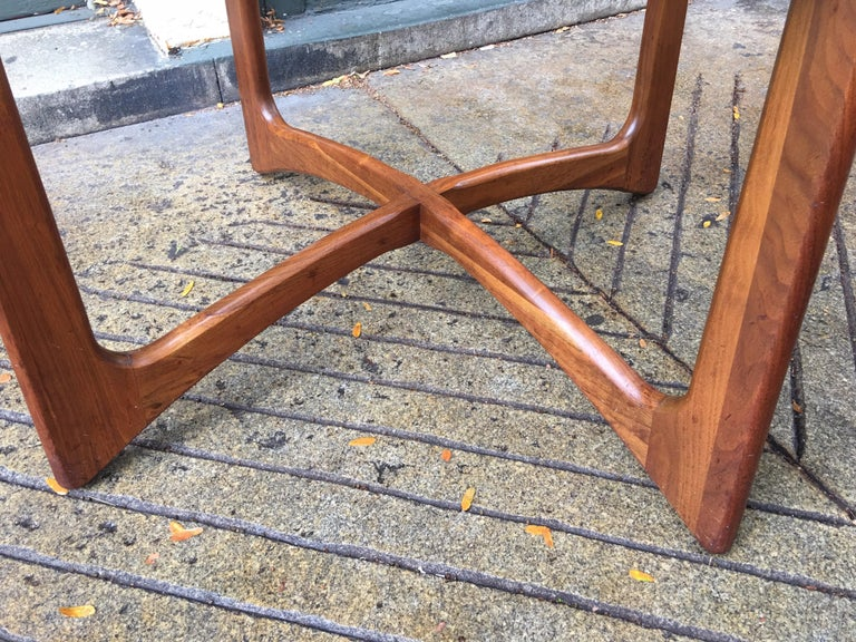 Adrian Pearsall for Craft Associates Walnut and Glass Dining Table In Good Condition For Sale In Philadelphia, PA