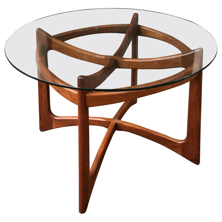 Adrian Pearsall for Craft Associates Walnut and Glass Dining Table For Sale