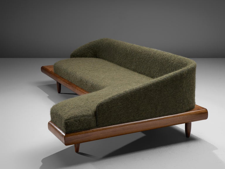 Adrian Pearsall Grand Boomerang Sofa Upholstered in Green Wool For Sale 3
