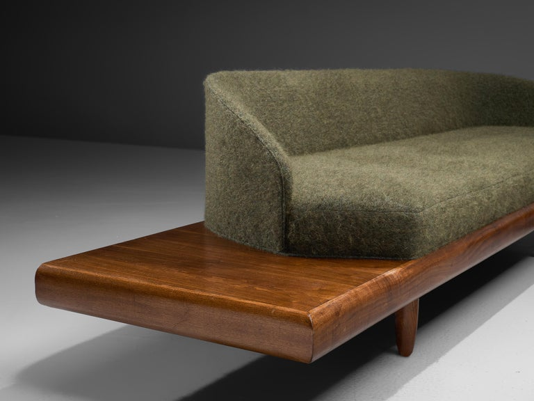 Mid-Century Modern Adrian Pearsall Grand Boomerang Sofa Upholstered in Green Wool For Sale