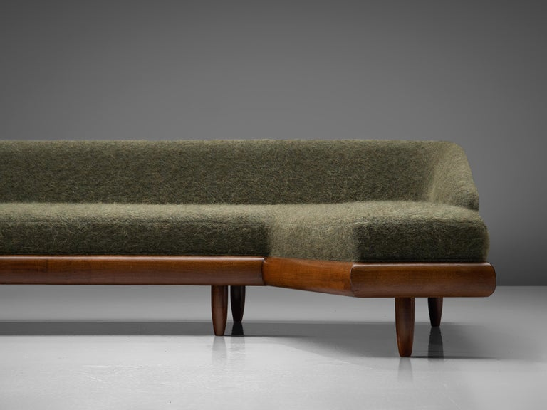 American Adrian Pearsall Grand Boomerang Sofa Upholstered in Green Wool For Sale