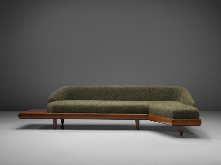 Mid-20th Century Adrian Pearsall Grand Boomerang Sofa Upholstered in Green Wool For Sale