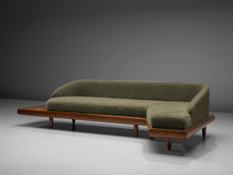 Adrian Pearsall Grand Boomerang Sofa Upholstered in Green Wool For Sale 2