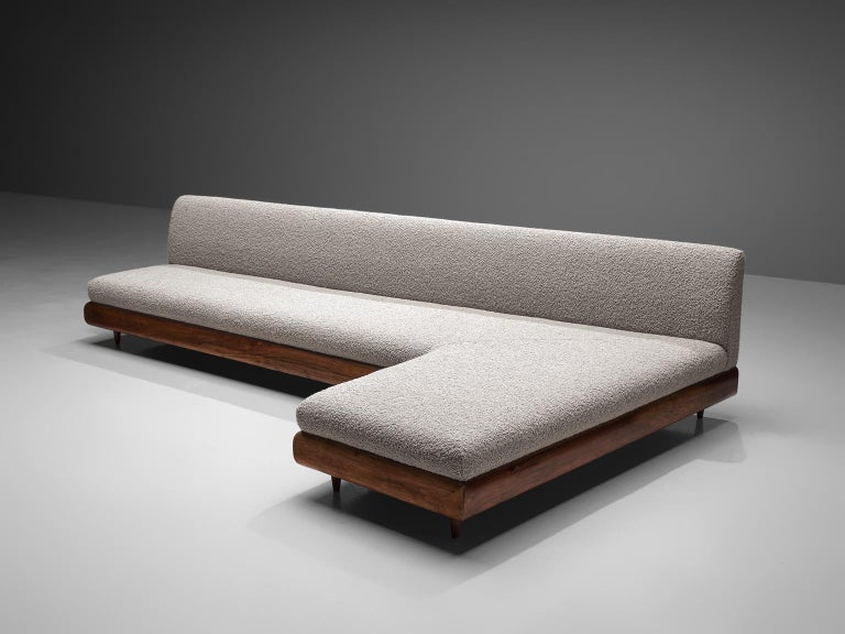Adrian Pearsall, 'Boomerang' sofa, in Pierre Frey fabric and walnut, United States, 1960s  This boomerang sofa has a unique shape with sinuous lines which create a monumental and inviting look. The right-facing sofa is a great addition to a living