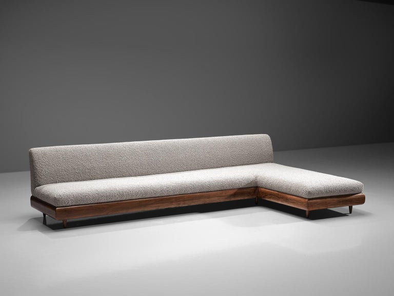 American Adrian Pearsall Grand Boomerang Sofa Upholstered in Luxurious Pierre Frey For Sale