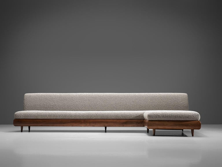 Adrian Pearsall Grand Boomerang Sofa Upholstered in Luxurious Pierre Frey In Excellent Condition For Sale In Waalwijk, NL