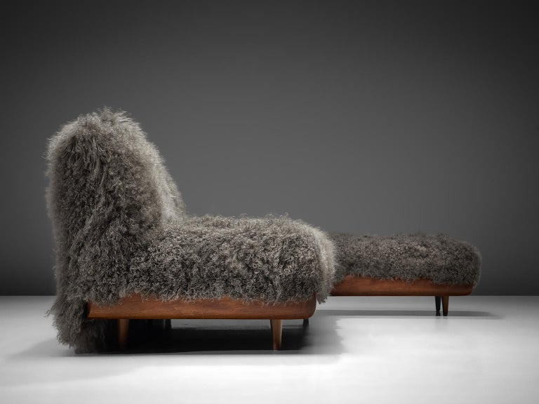Adrian Pearsall Grand Boomerang Sofa Upholstered in Tibetan Wool For Sale 5