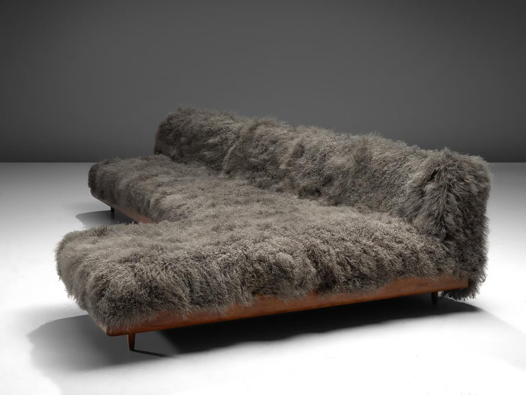Adrian Pearsall, 'Boomerang' sofa, Tibetan wool, walnut, United States, 1960s