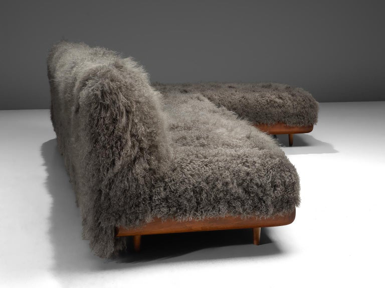 Mid-Century Modern Adrian Pearsall Grand Boomerang Sofa Upholstered in Tibetan Wool For Sale