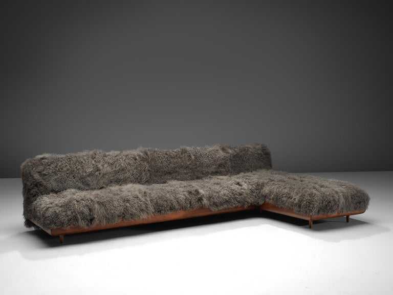 American Adrian Pearsall Grand Boomerang Sofa Upholstered in Tibetan Wool For Sale