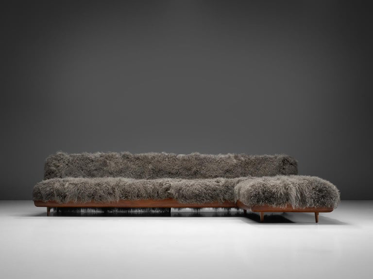 Mid-20th Century Adrian Pearsall Grand Boomerang Sofa Upholstered in Tibetan Wool For Sale