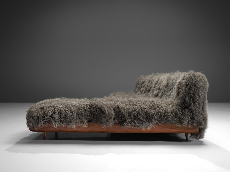 Adrian Pearsall Grand Boomerang Sofa Upholstered in Tibetan Wool For Sale 1