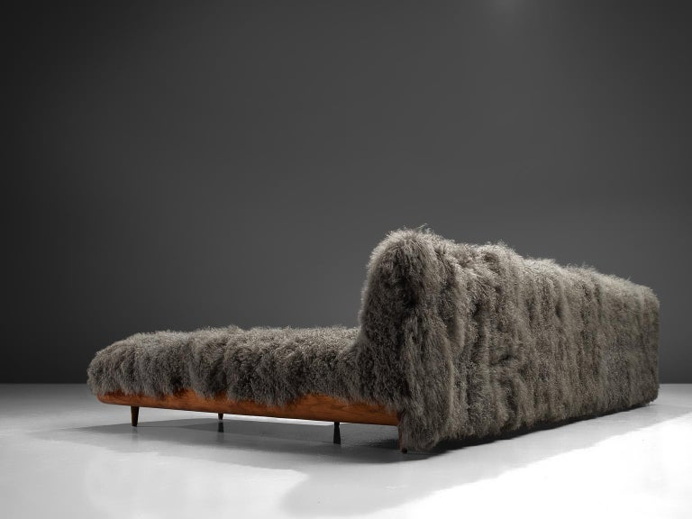 Adrian Pearsall Grand Boomerang Sofa Upholstered in Tibetan Wool For Sale 3