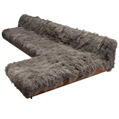 Adrian Pearsall Grand Boomerang Sofa Upholstered in Tibetan Wool