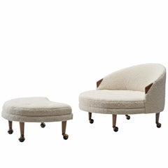Adrian Pearsall Havana Lounge Chair and Ottoman in Pierre Frey Wool