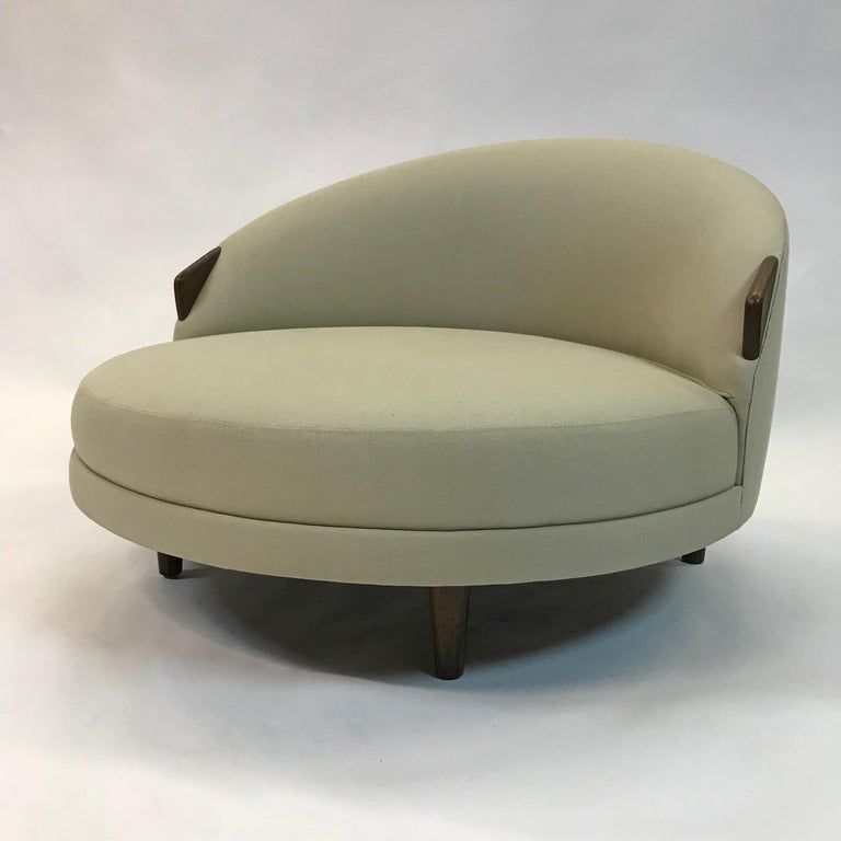 Luxuriously Proportioned Low Round Havana Lounge Chair By Adrian Pearsall For Craft