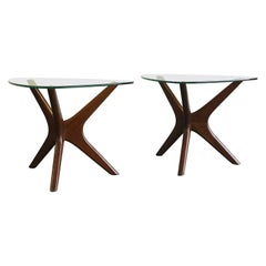 "Adrian Pearsall ""Jacks"" End Tables, Walnut and Glass"