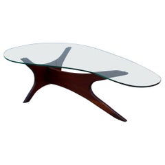 Adrian Pearsall Kidney Shape Walnut Coffee Table