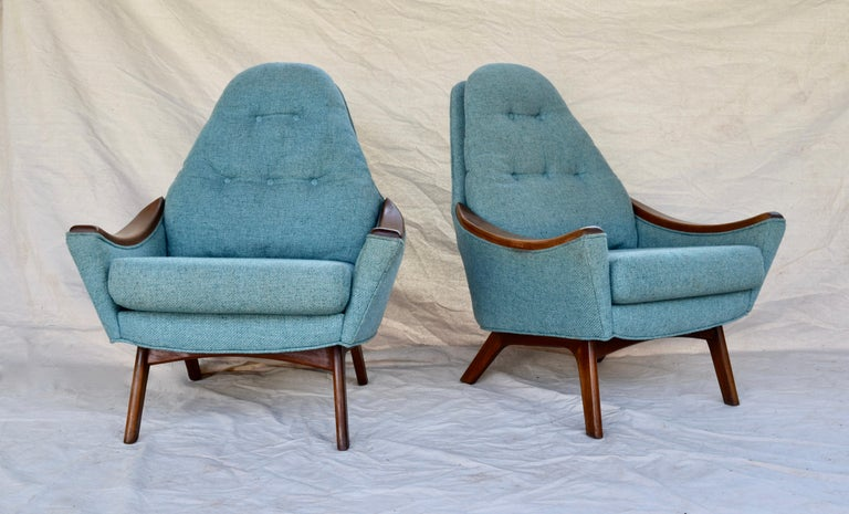 Vintage modern pair of Adrian Pearsall for Craft Associates lounge chairs with sculptural walnut swag arms and base. Solid structure with original teal upholstery in well maintained vintage condition.