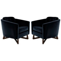 Adrian Pearsall Lounge Chairs in Navy Blue Velvet, circa 1950s