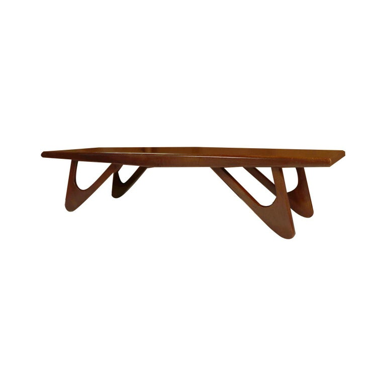 Adrian Pearsall Midcentury Biomorphic Walnut Coffee Table For Sale 1