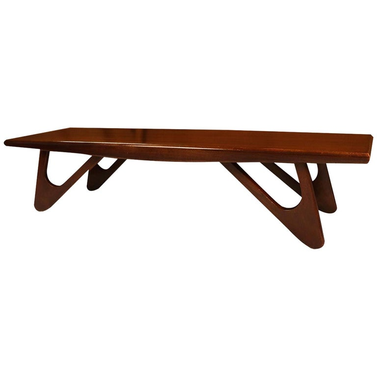 Adrian Pearsall Midcentury Biomorphic Walnut Coffee Table For Sale