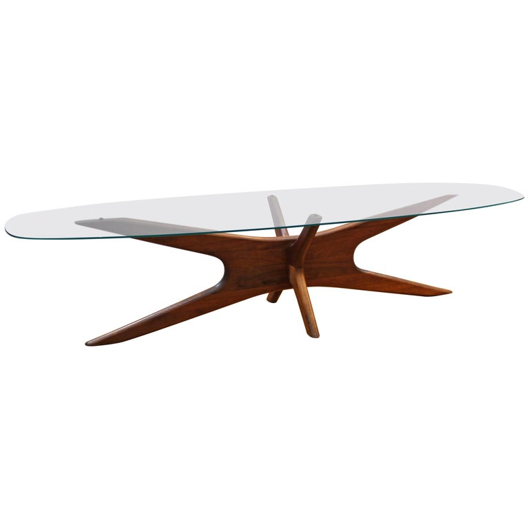 Lane Pearsall Style Mid Century Modern Coffee Table: Adrian Pearsall Mid-Century Modern Coffee Table With Glass