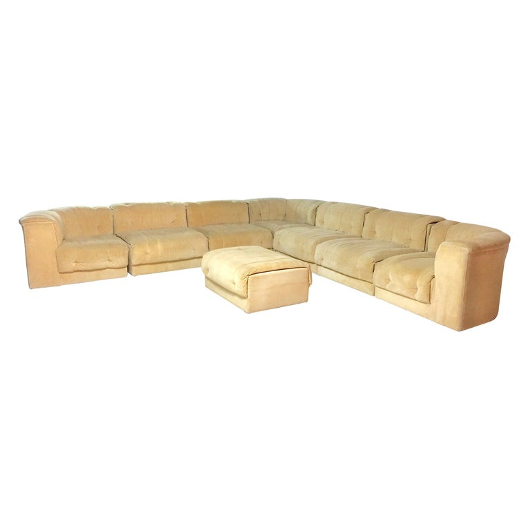 Adrian Pearsall Mid-Century Modern Craft Associates Suede Modular Sectional  Sofa