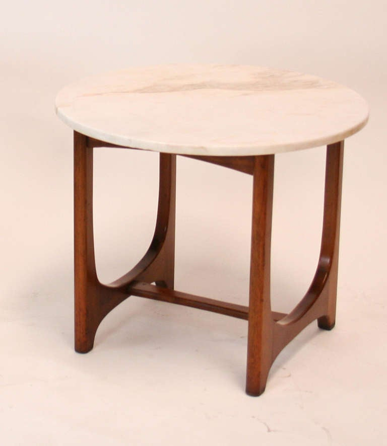 Side table in the style of Vladimir Karan with sculptural walnut base and marble top by Adrian Pearsall.