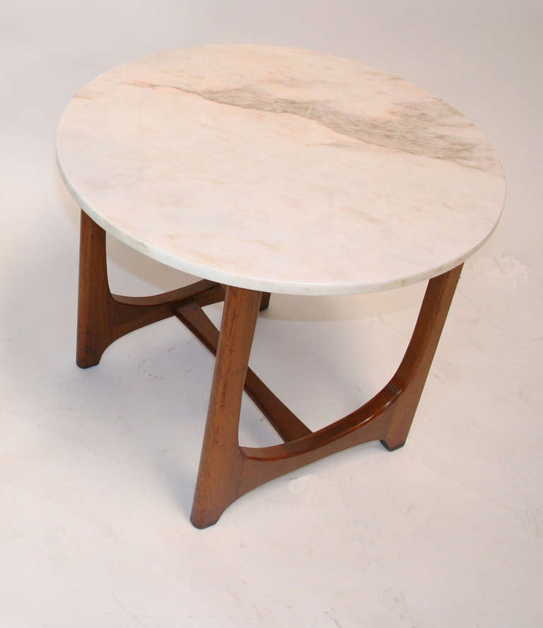 Adrian Pearsall Mid-Century Modern Marble Top Side Table In Good Condition For Sale In Palm Springs, CA