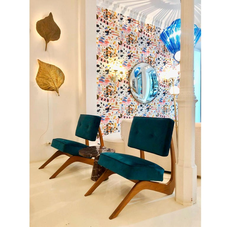 Adrian Pearsall Mid-Century Modern Walnut Pair of American Lounge Chairs For Sale 6
